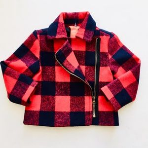 NWT Navy Red Plaid Wool Blend Coat